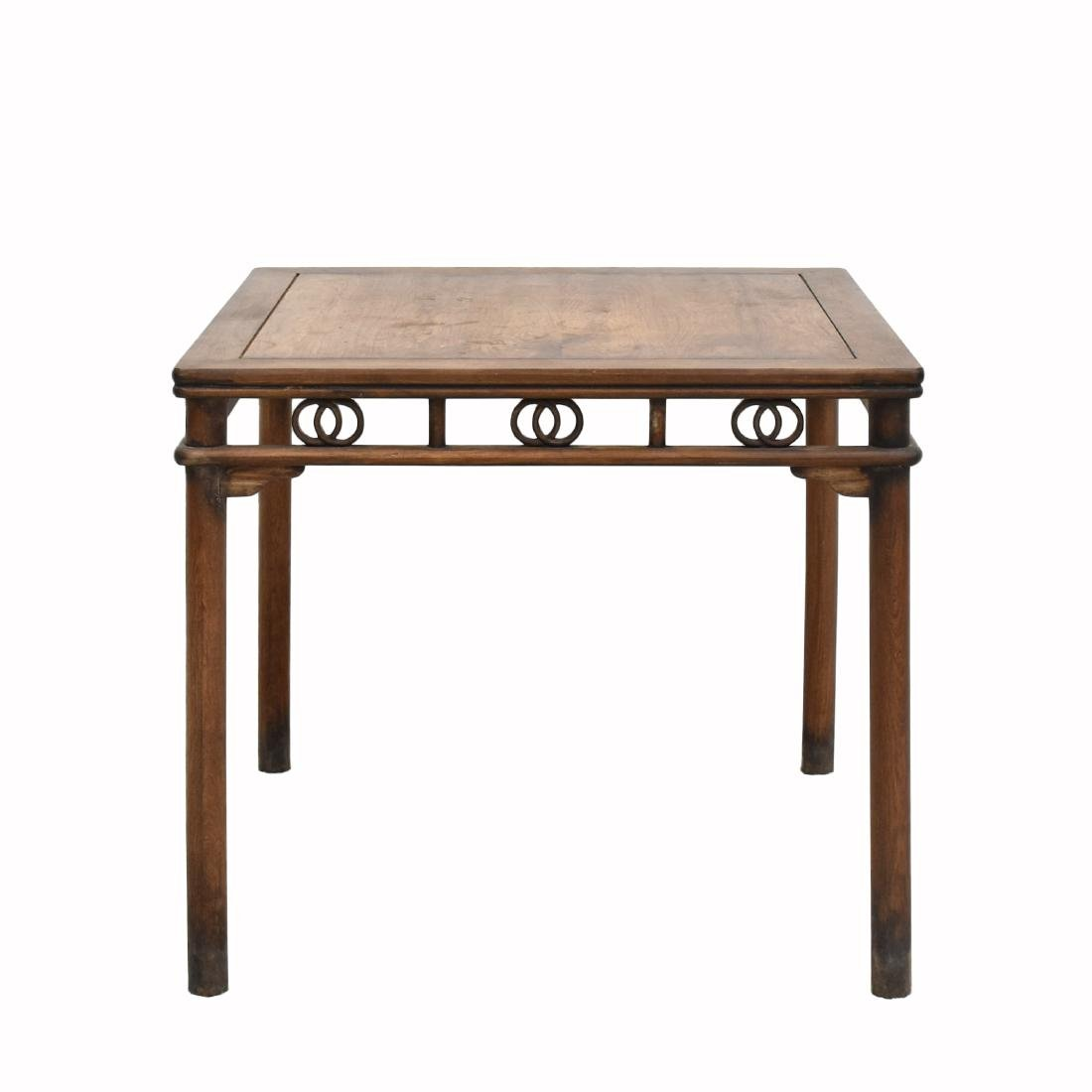 19TH C HUANGHUALI SQUARE TABLE WITH DOUBLE COINS MOTIF