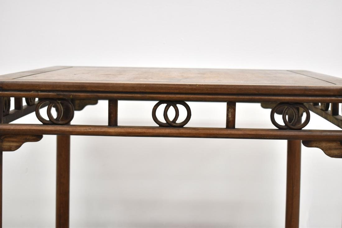 19TH C HUANGHUALI SQUARE TABLE WITH DOUBLE COINS MOTIF - 2
