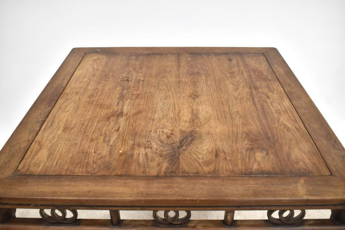 19TH C HUANGHUALI SQUARE TABLE WITH DOUBLE COINS MOTIF - 5