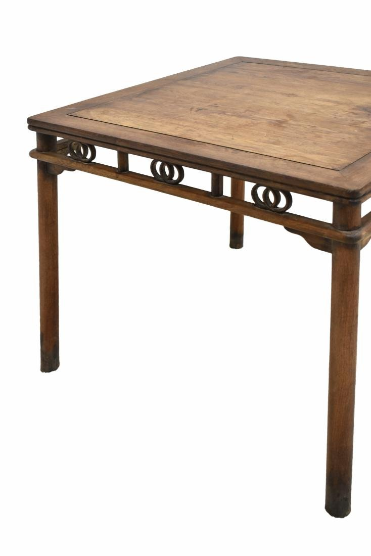 19TH C HUANGHUALI SQUARE TABLE WITH DOUBLE COINS MOTIF - 8