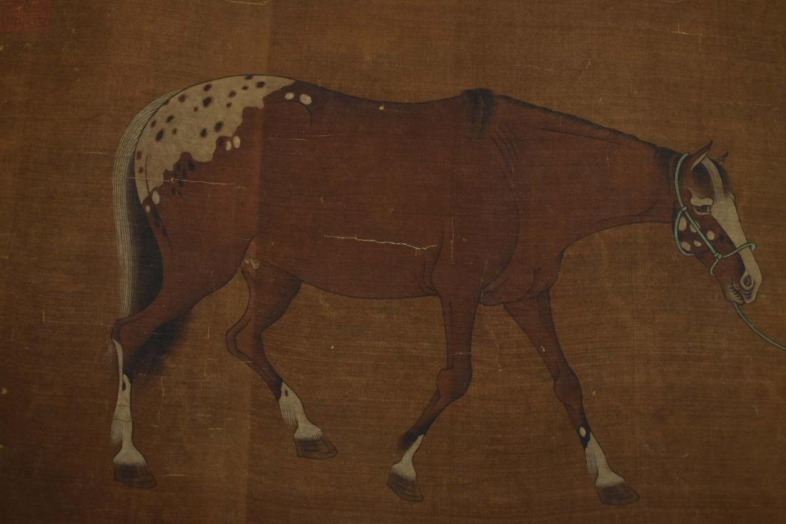 CHINESE QING DYNASTY SPOTTED CELESTIAL HORSE PAINTING - 10