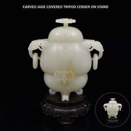 JADE COVERED TRIPOD CENSER ON STAND