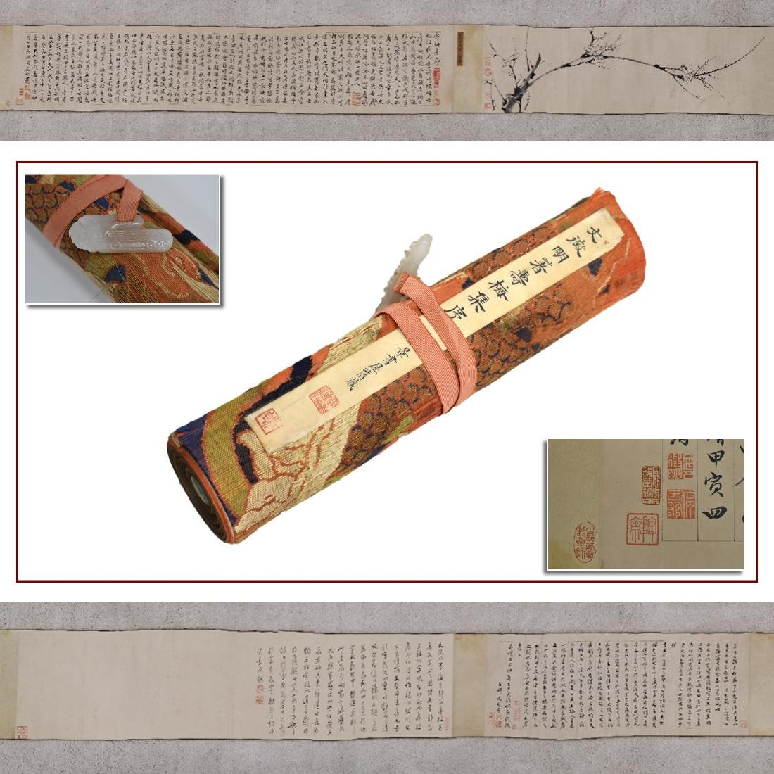 BEAUTIFUL CHINESE LONG HAND SCROLL PAINTING OF CHERRY