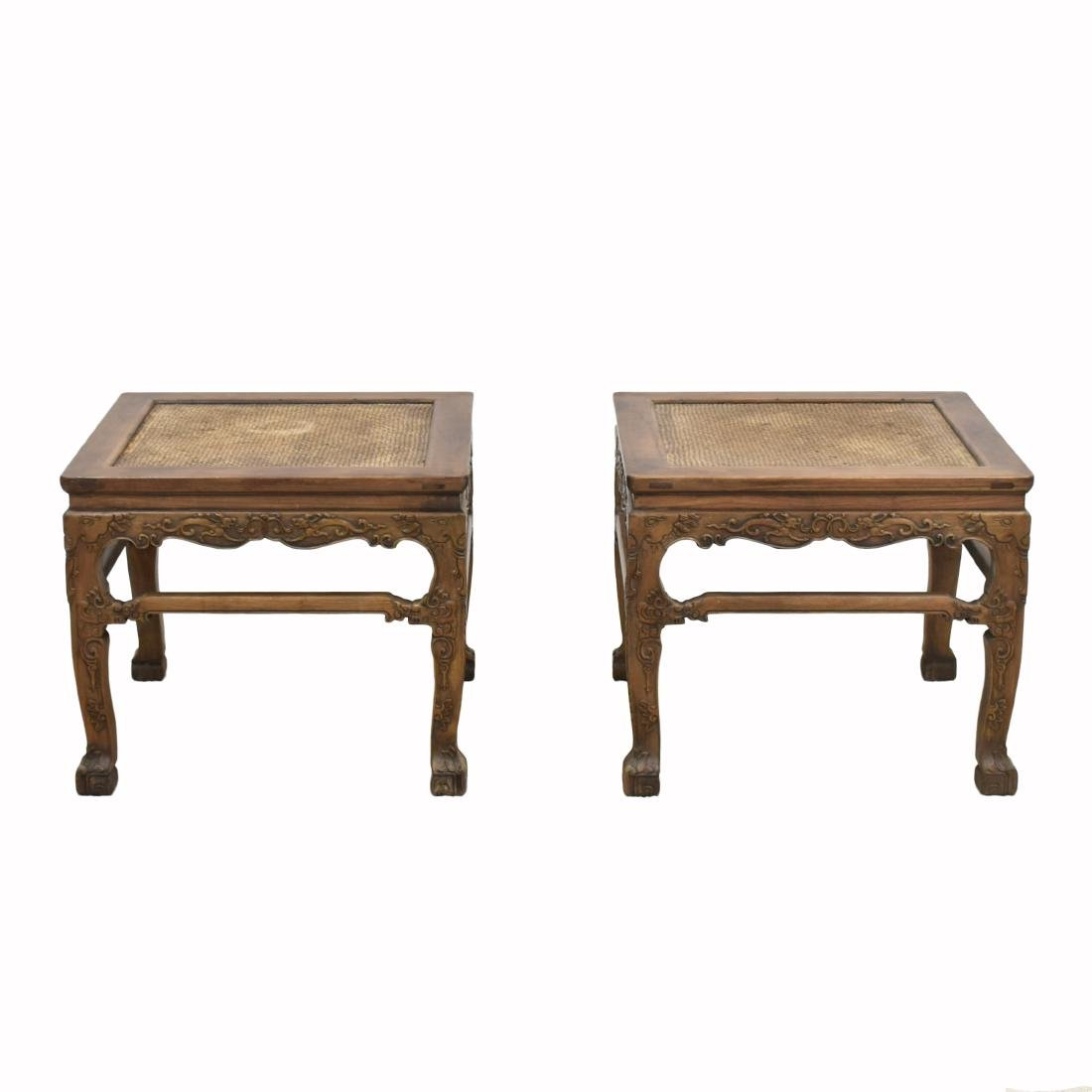 18/19TH C PAIR CHINESE HUANGHUALI LOW CHAIRS