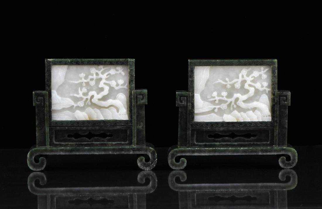 PAIR OF WHITE JADE AND SPINACH-GREEN JADE TABLE SCREENS