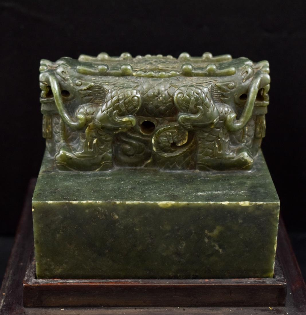 DOUBLE HEADED DRAGON GREEN JADE SEAL IN BOX - 10