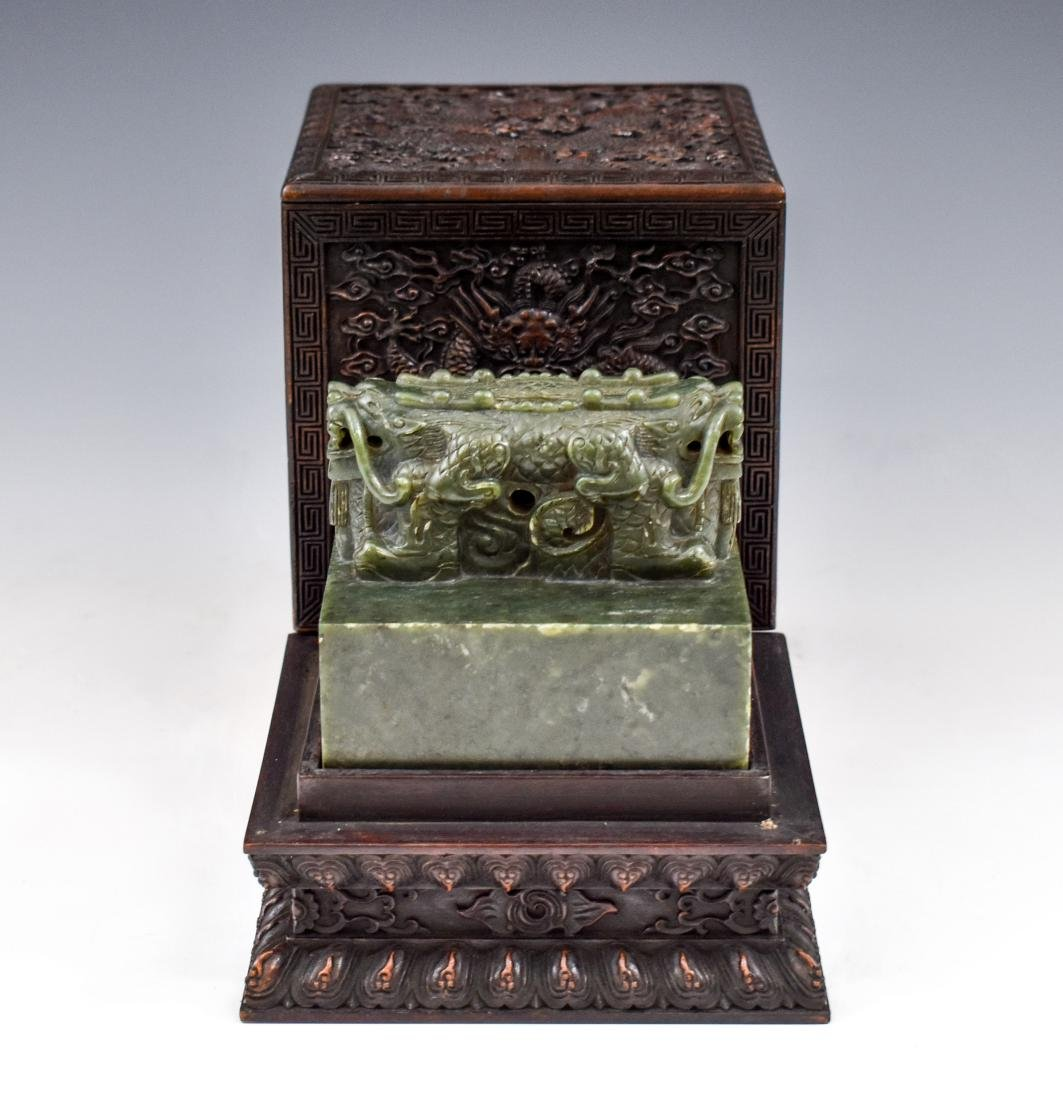 DOUBLE HEADED DRAGON GREEN JADE SEAL IN BOX