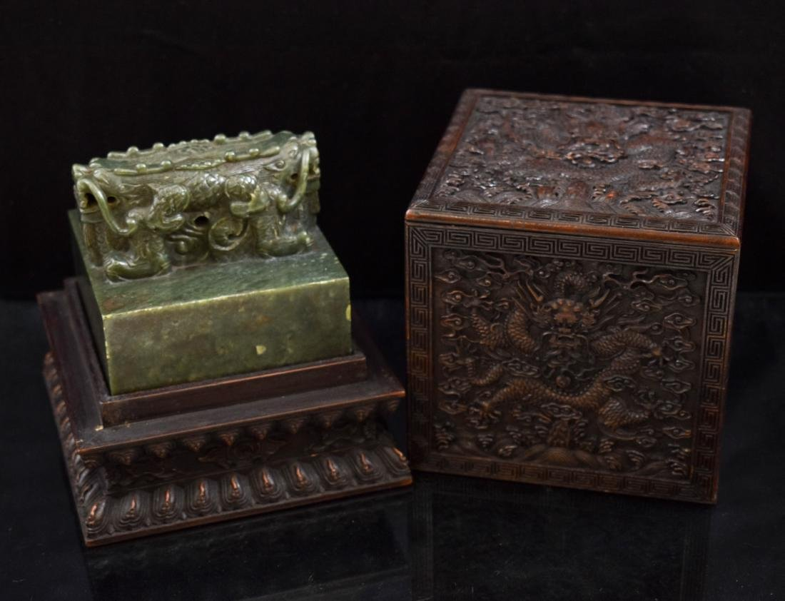 DOUBLE HEADED DRAGON GREEN JADE SEAL IN BOX - 3