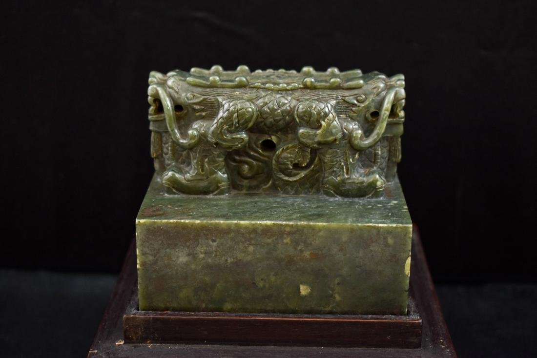 DOUBLE HEADED DRAGON GREEN JADE SEAL IN BOX - 6