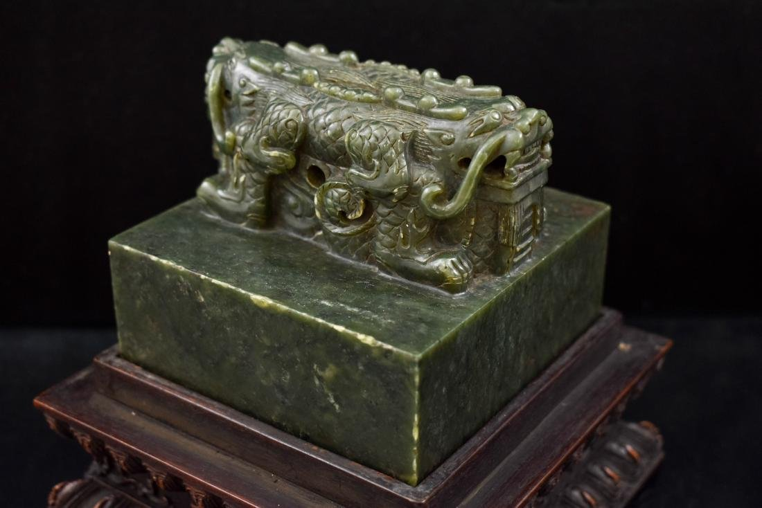 DOUBLE HEADED DRAGON GREEN JADE SEAL IN BOX - 9