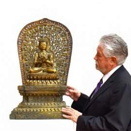 MING YONGLE GILT BRONZE BUDDHA VAJRADHARA & AUREOLA