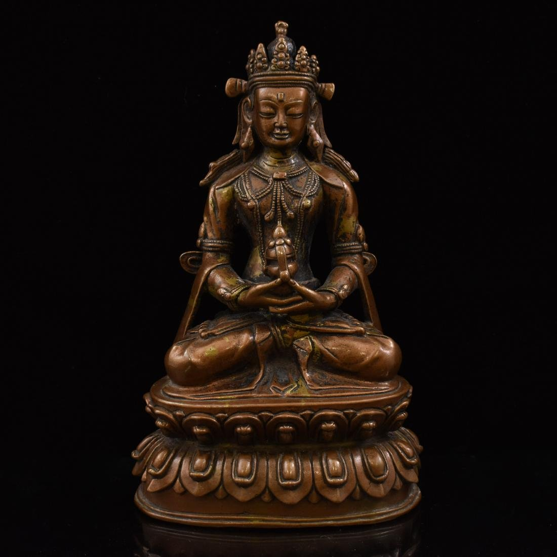 LARGE QING BRONZE SEATED AMITAYUS BUDDHA