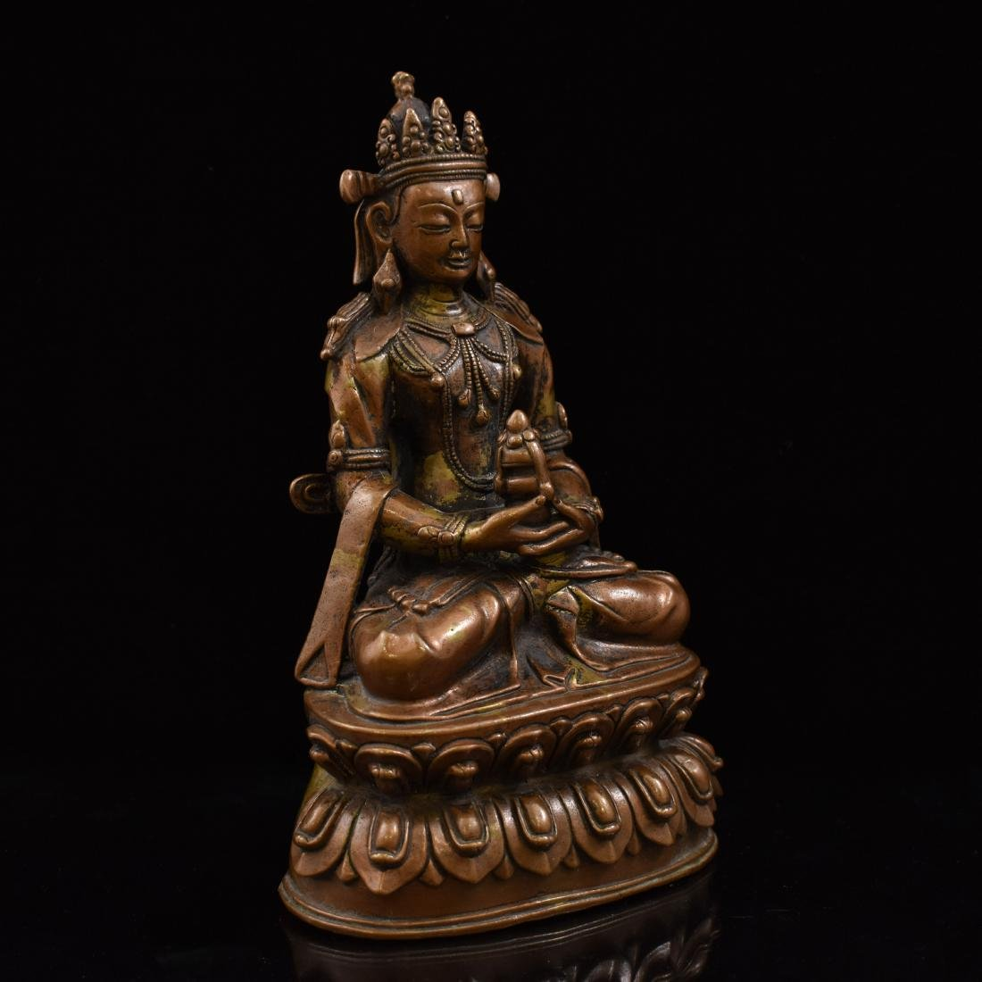 LARGE QING BRONZE SEATED AMITAYUS BUDDHA - 2