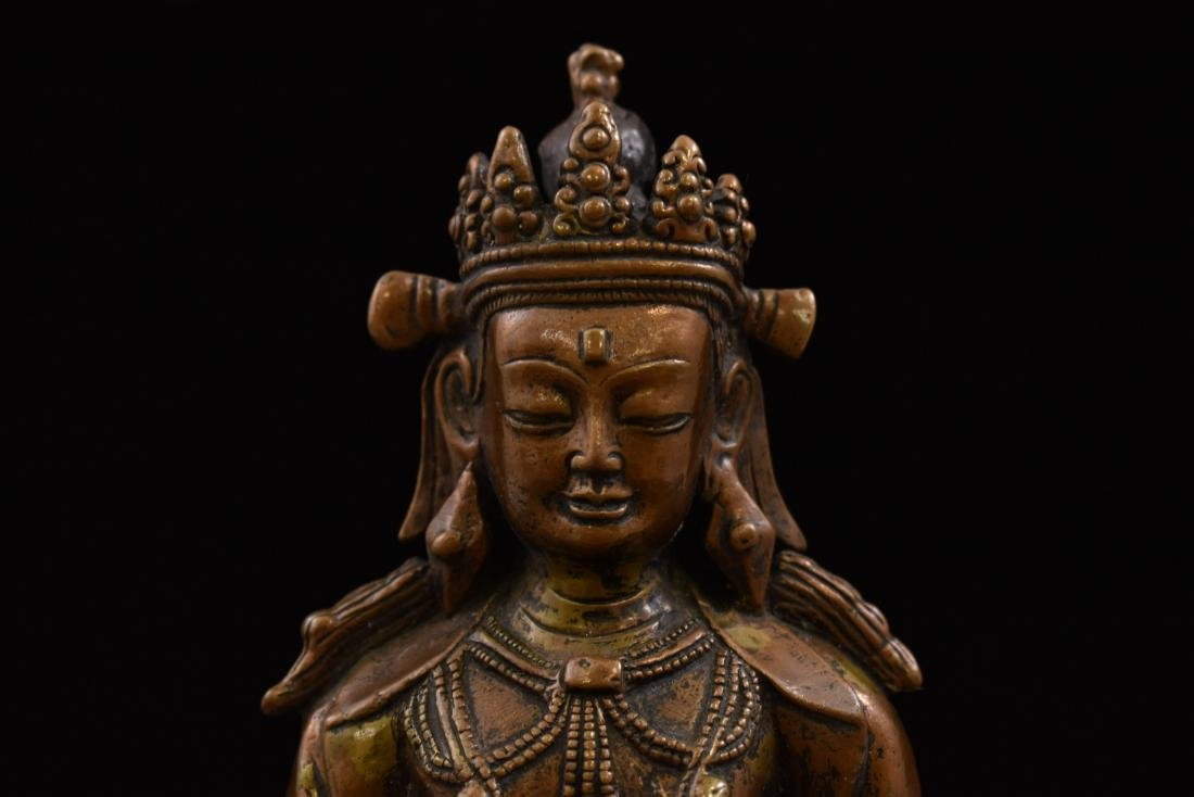 LARGE QING BRONZE SEATED AMITAYUS BUDDHA - 7