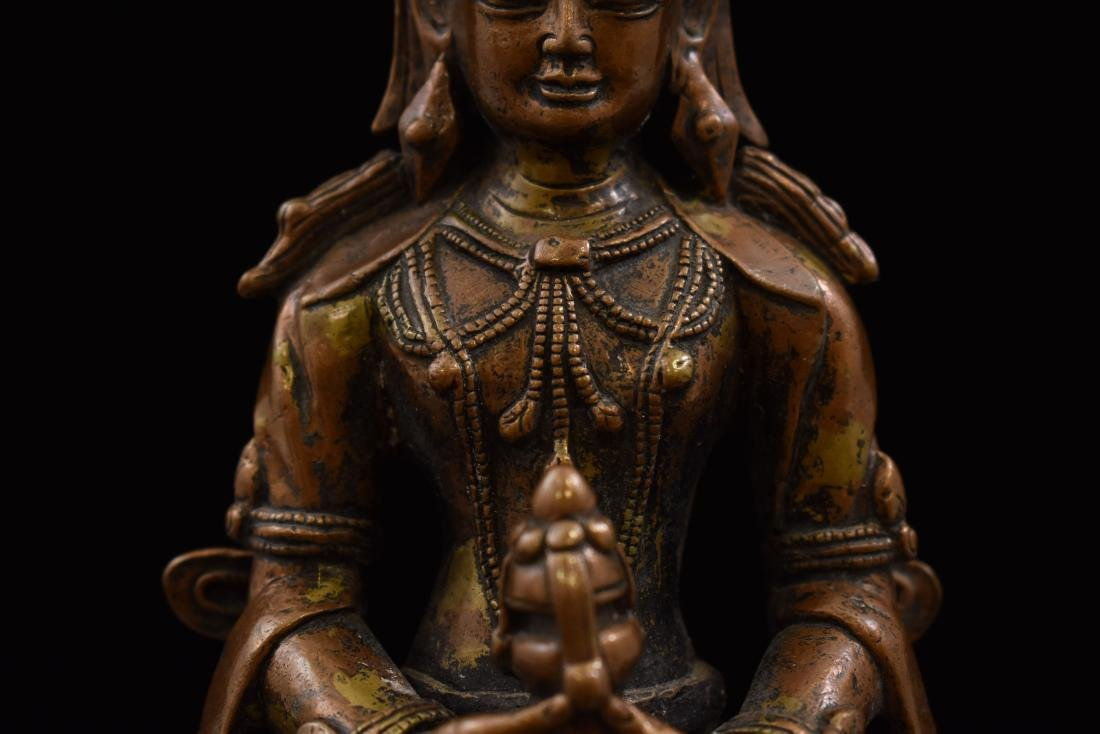 LARGE QING BRONZE SEATED AMITAYUS BUDDHA - 8