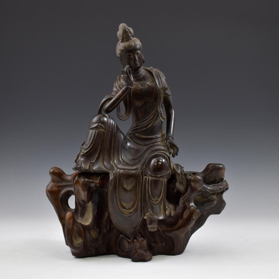 MING ZITAN WOOD CARVED SEATED GUANYIN