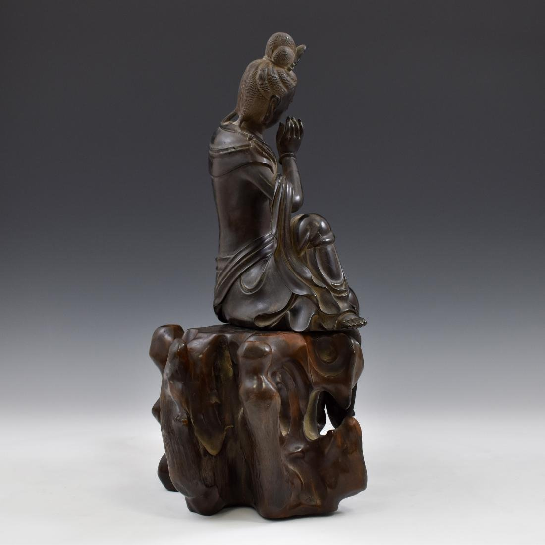 MING ZITAN WOOD CARVED SEATED GUANYIN - 3
