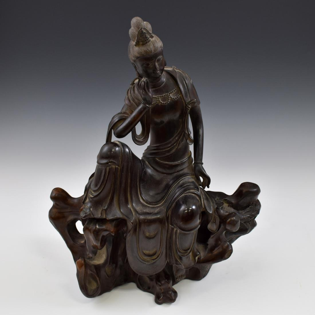MING ZITAN WOOD CARVED SEATED GUANYIN - 6
