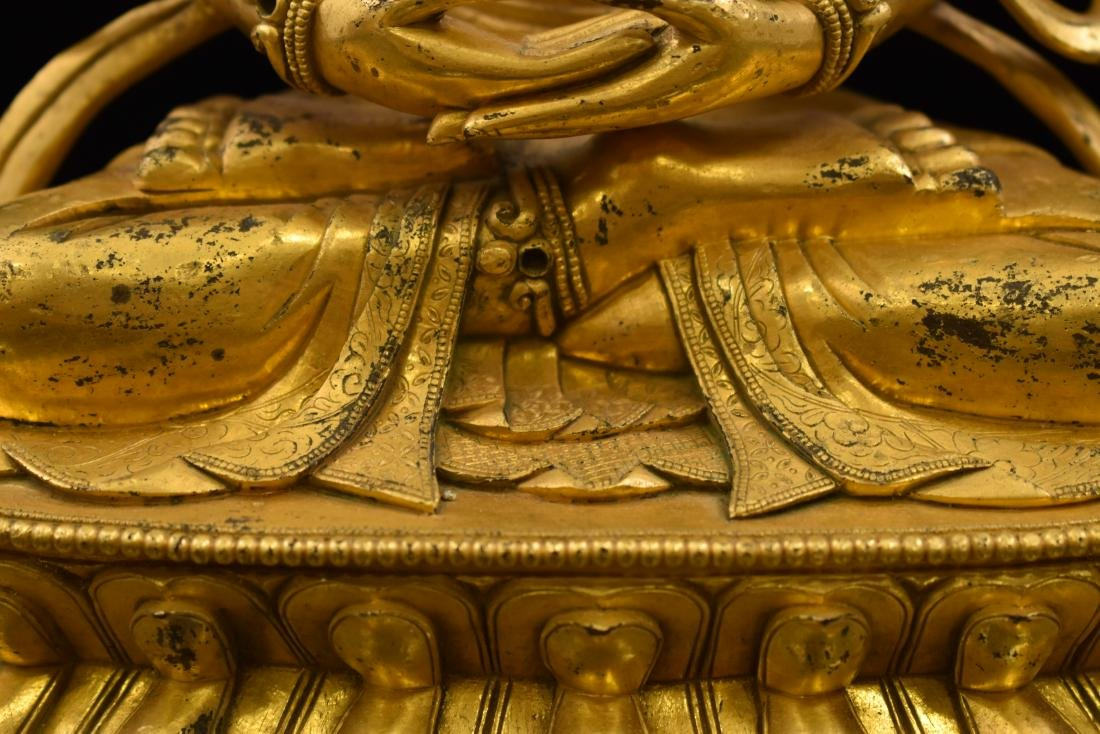 QING GILT BRONZE SEATED AMITAYUS BUDDHA - 10