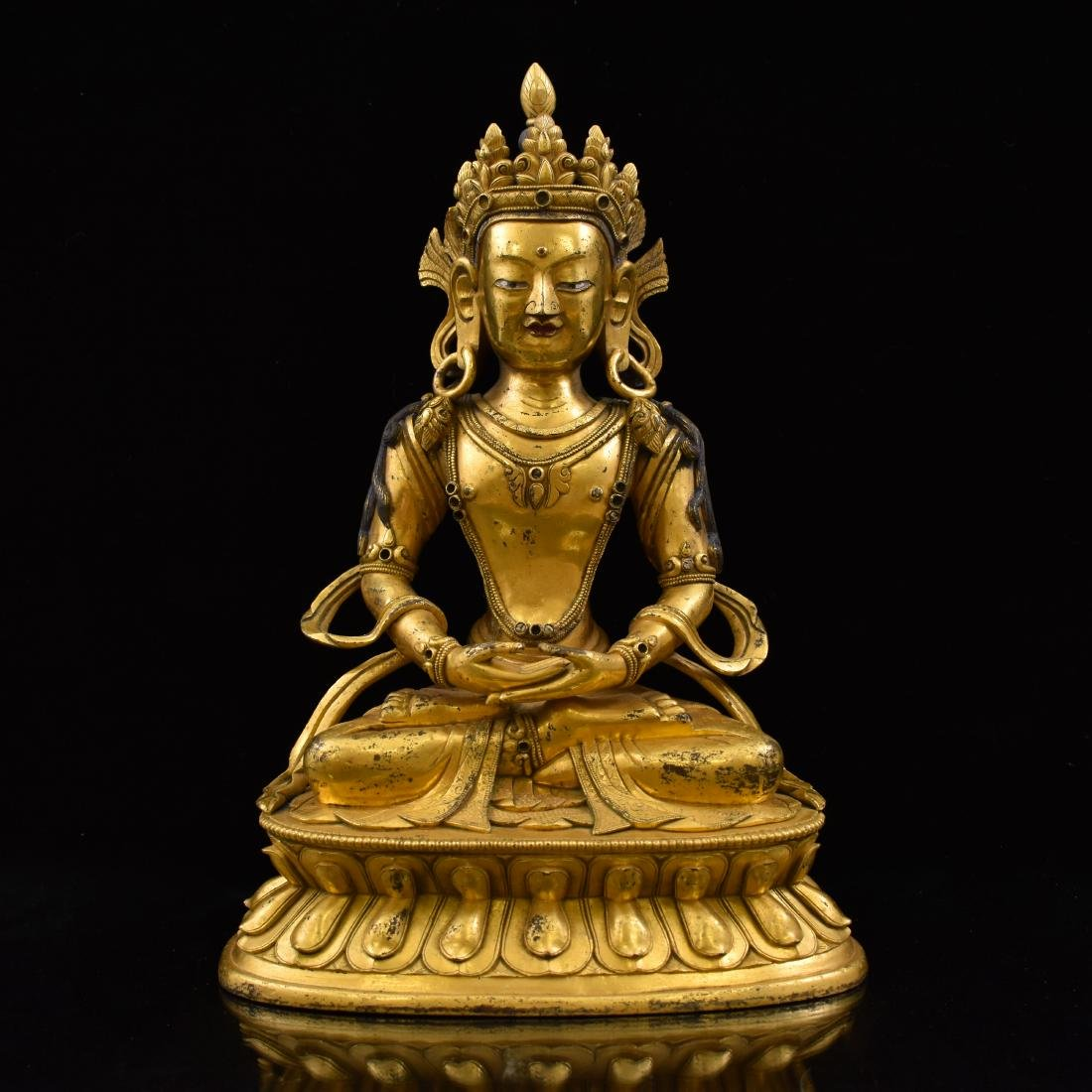 QING GILT BRONZE SEATED AMITAYUS BUDDHA