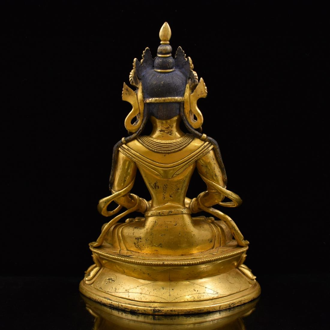 QING GILT BRONZE SEATED AMITAYUS BUDDHA - 4
