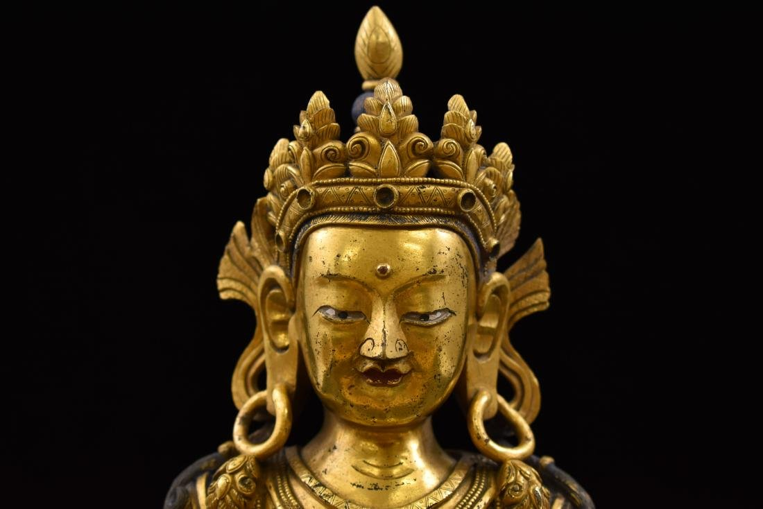 QING GILT BRONZE SEATED AMITAYUS BUDDHA - 7