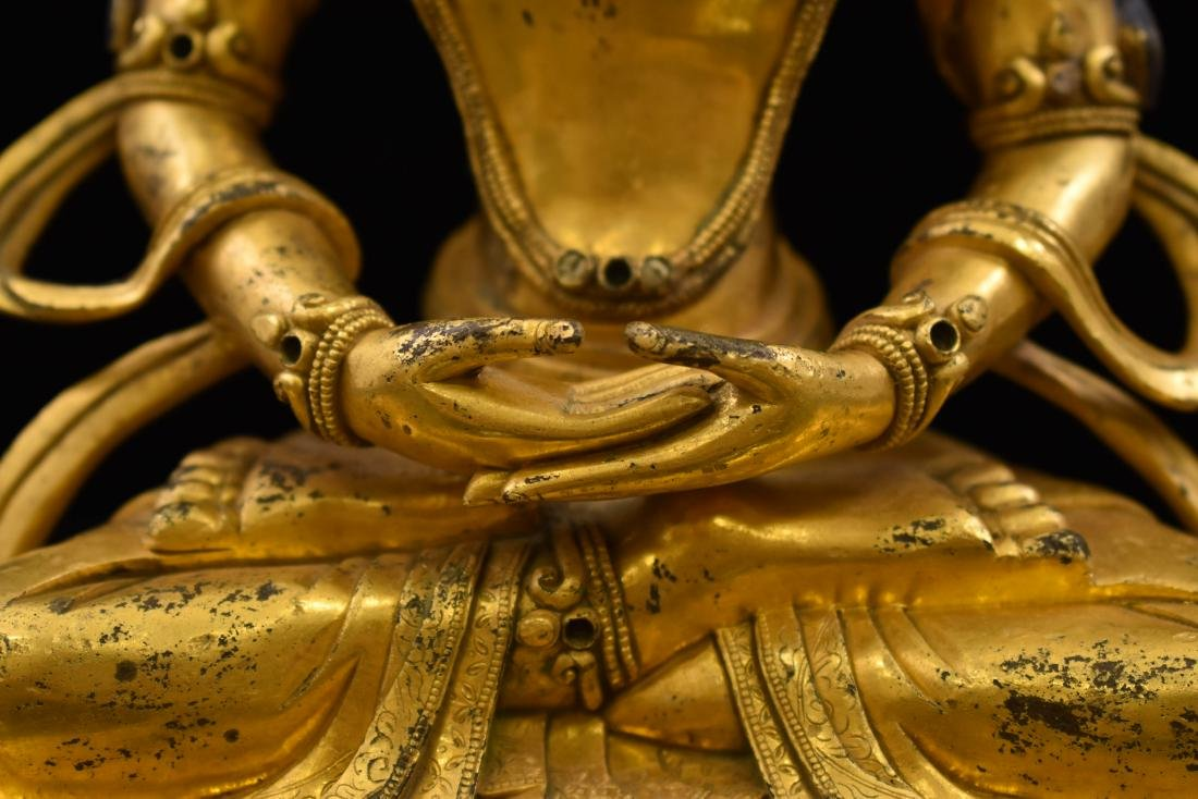QING GILT BRONZE SEATED AMITAYUS BUDDHA - 9