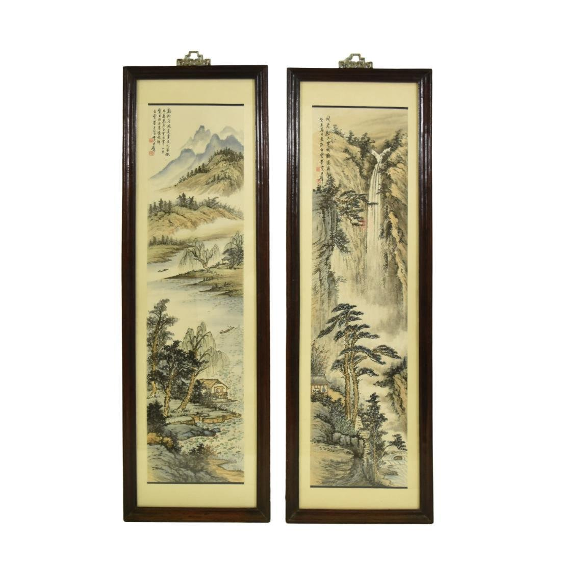 PAIR OF FRAMED CHINESE LANDSCAPE PAINTINGS