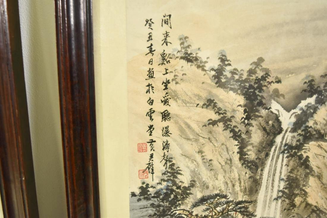 PAIR OF FRAMED CHINESE LANDSCAPE PAINTINGS - 4