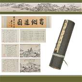 CHINESE LONG HAND SCROLL PAINTING OF WATERSIDE SCENE