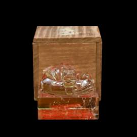 QING DRAGON CRYSTAL SEAL IN WOODEN BOX