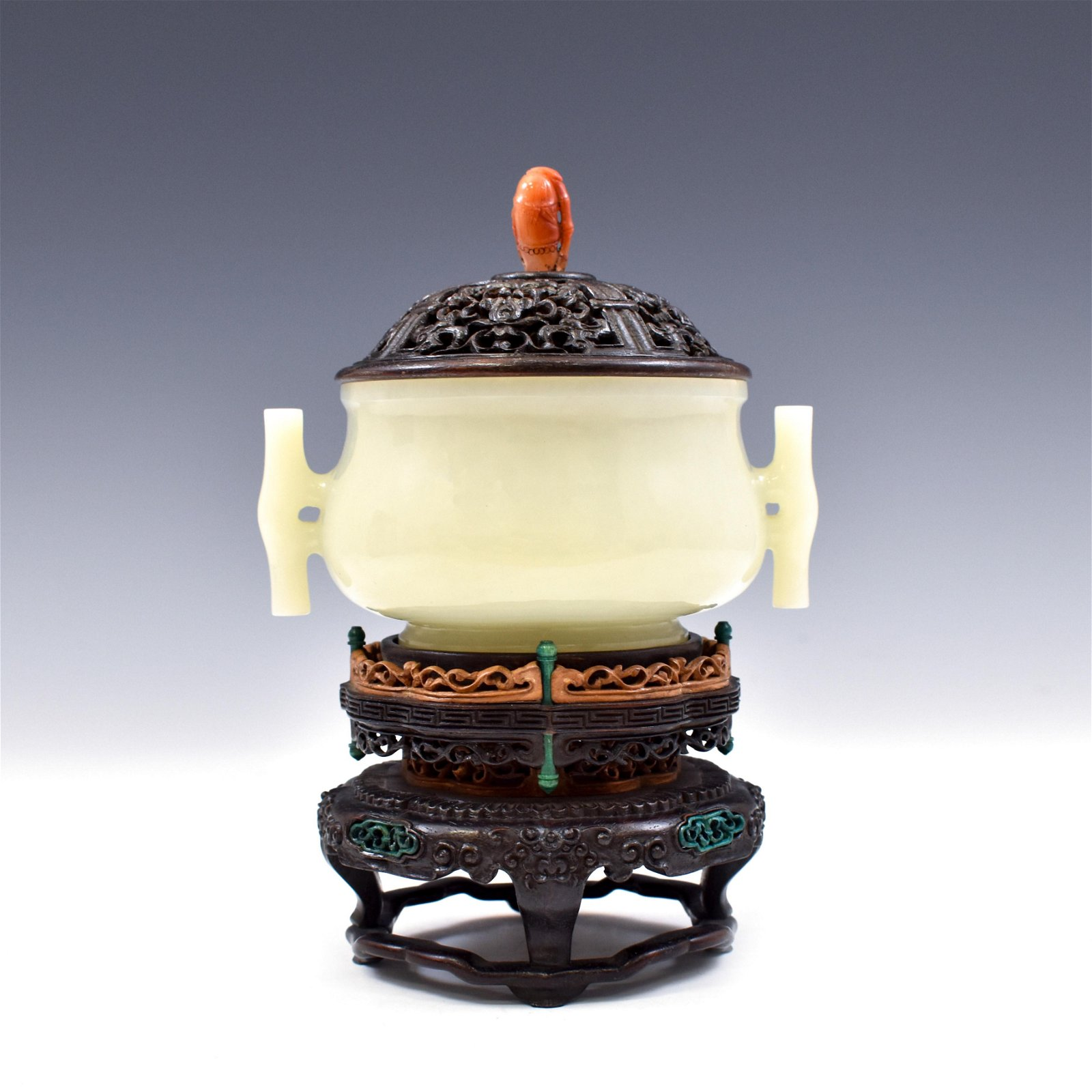 JADE CENSER WITH RED CORAL FINIAL ON STAND