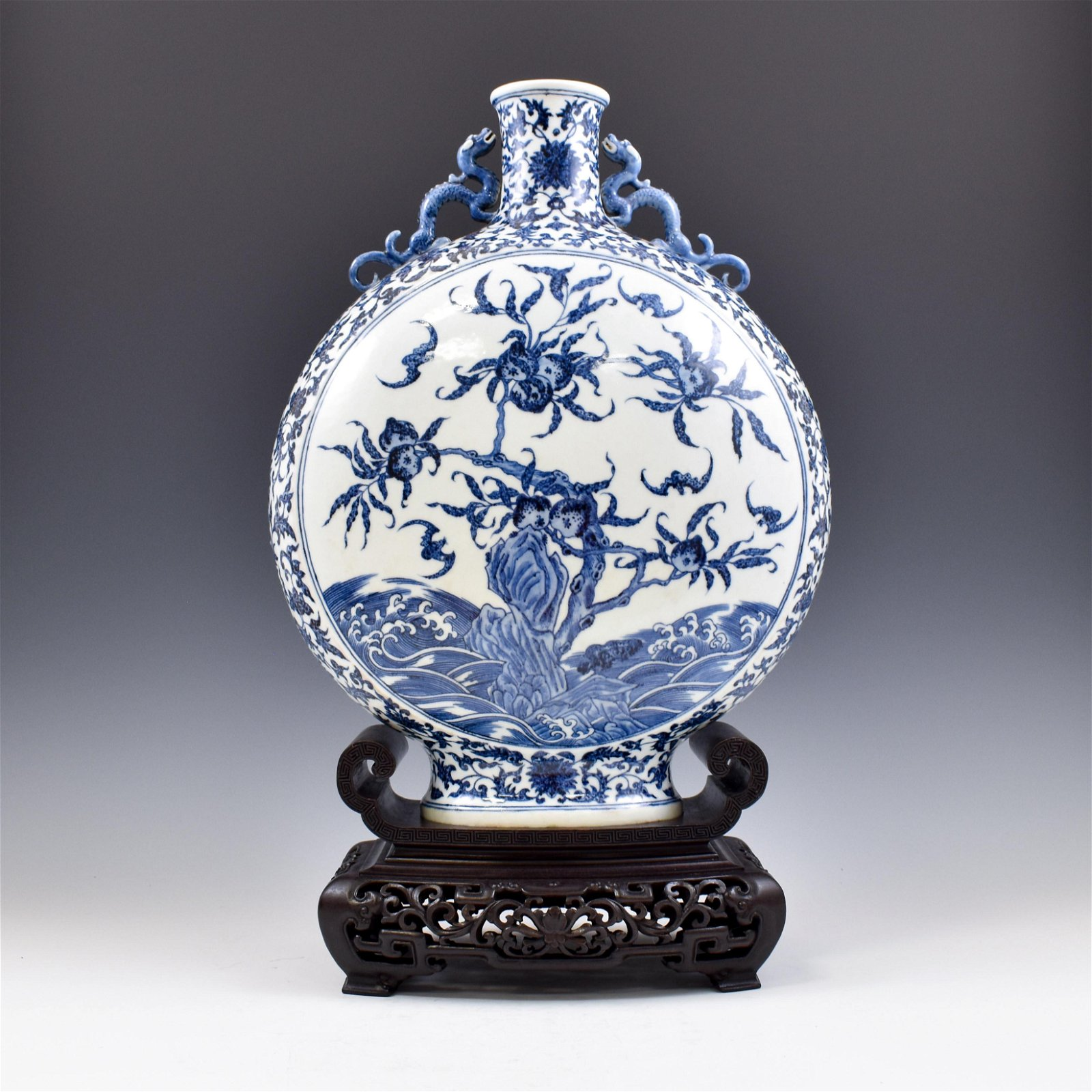 JIAQING BLUE AND WHITE MOON VASE ON STAND