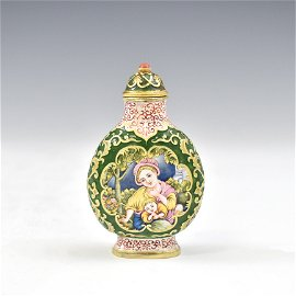 18TH C SOLID GOLD ENAMELED SNUFF BOTTLE