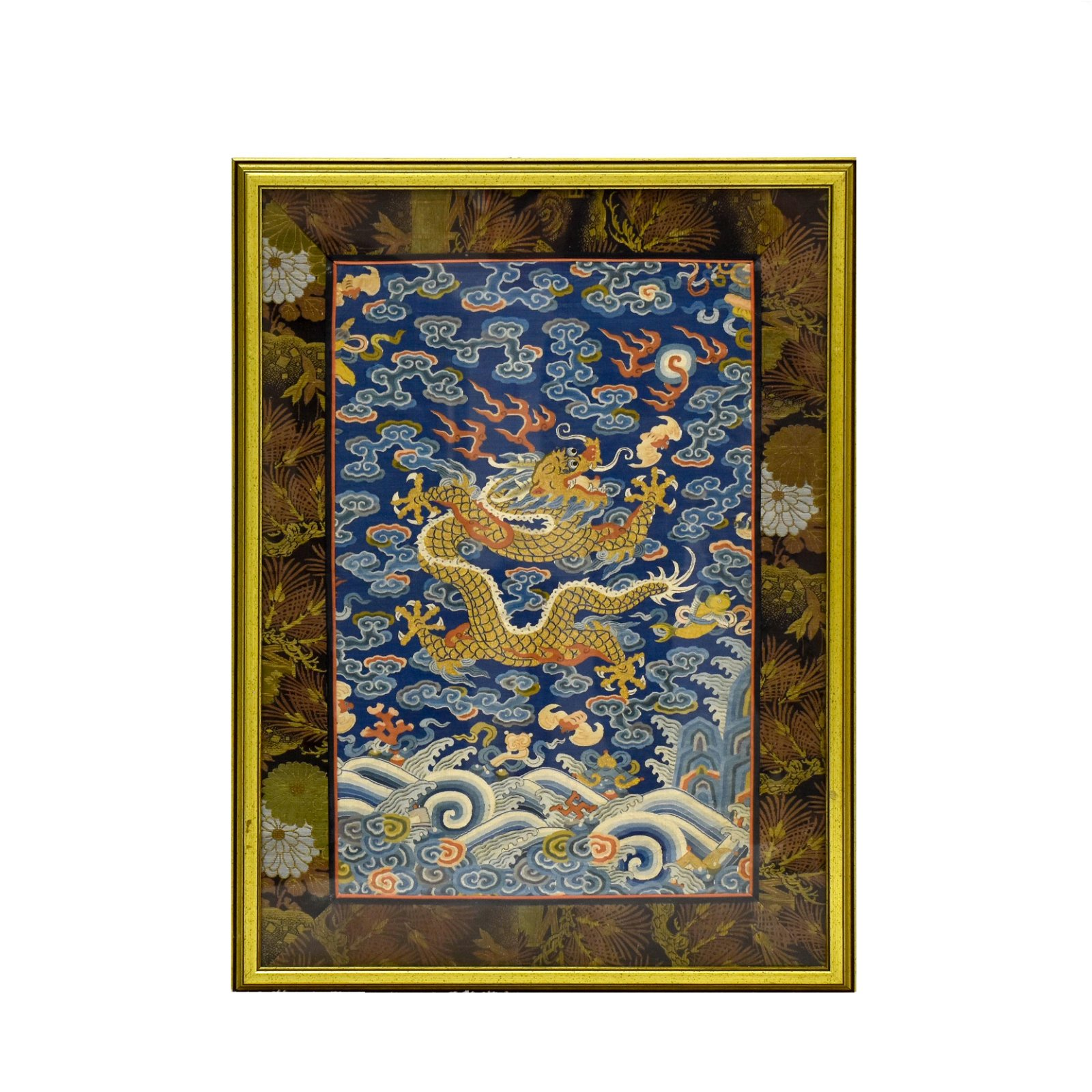 18TH C FRAMED EMBROIDERY SILK IMPERIAL DRAGON