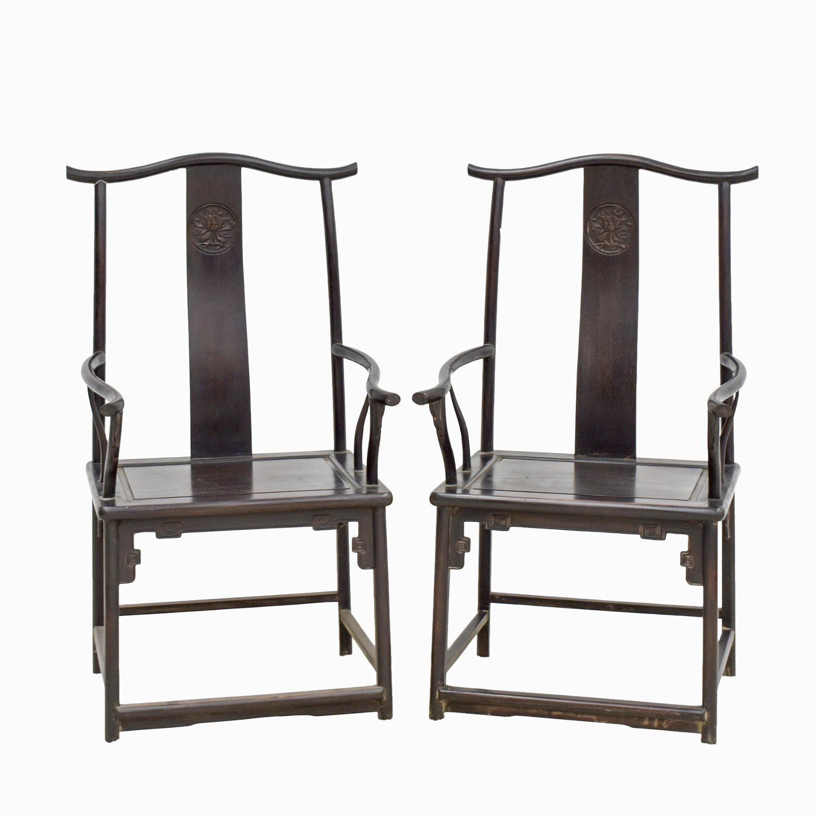 18/19TH C PAIR OF ZITAN OFFICER HAT ARMCHAIRS