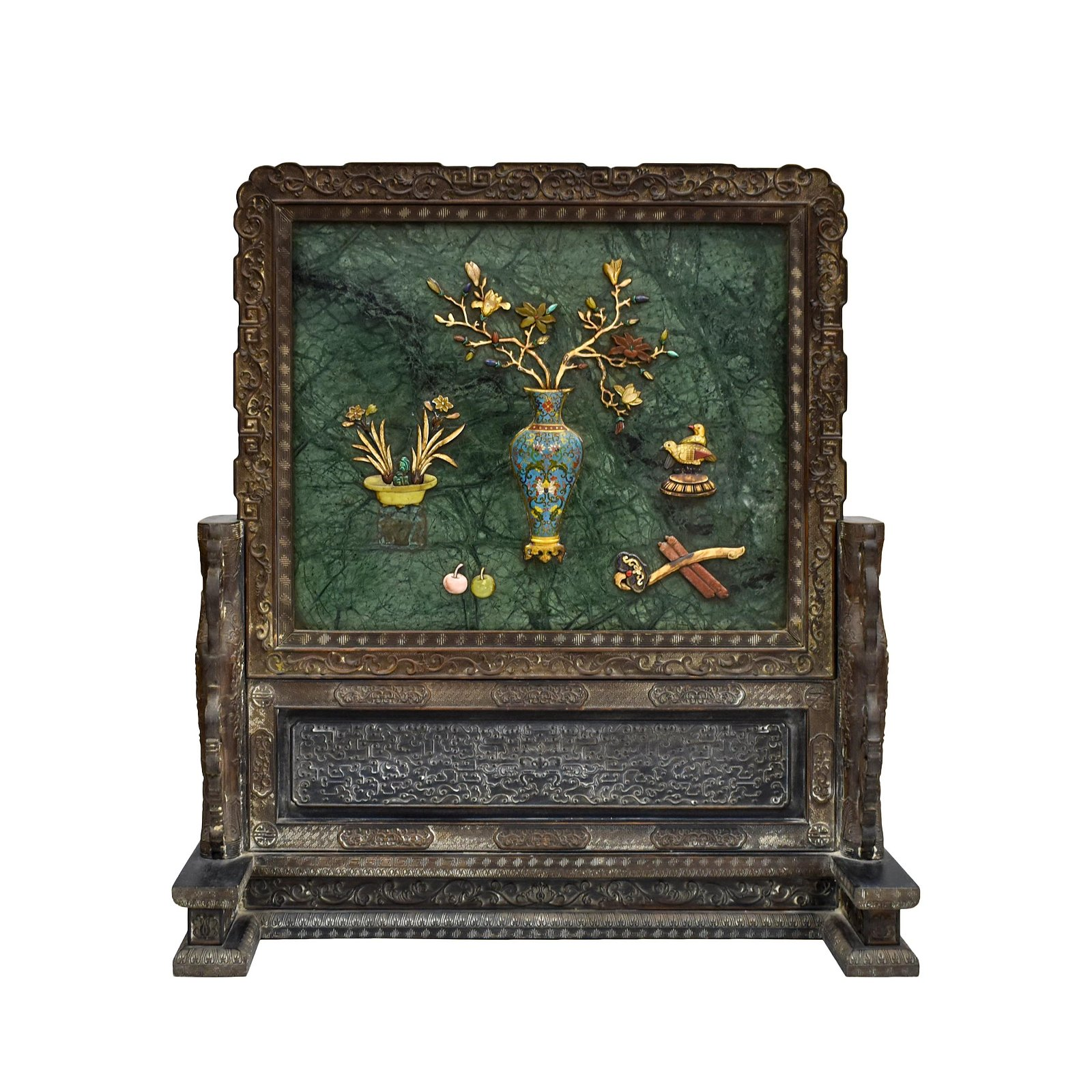 LARGE GREEN JADE AND STONES INLAID SCREEN