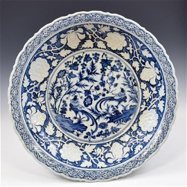 YUAN DYNASTY BLUE & WHITE BARBED RIM CHARGER