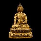 MING GILT BRONZE SEATTED SHAKYAMUNI BUDDHA
