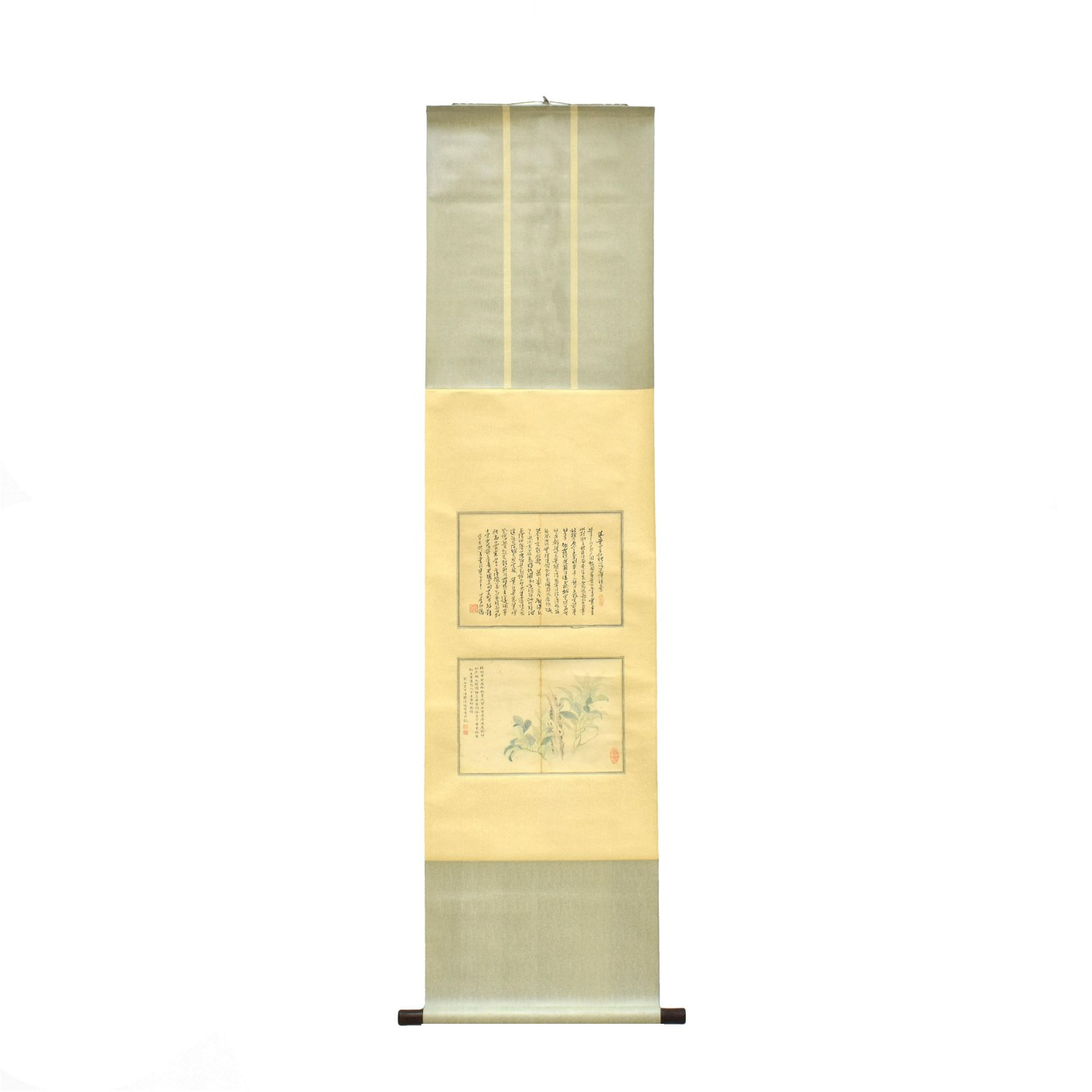 CHINESE SCROLL PAINTING & CALLIGRAPHY OF FLOWER