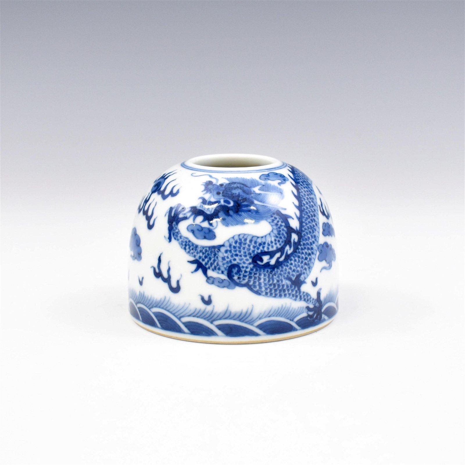 KANGXI BLUE AND WHITE DRAGON BRUSH WASHER