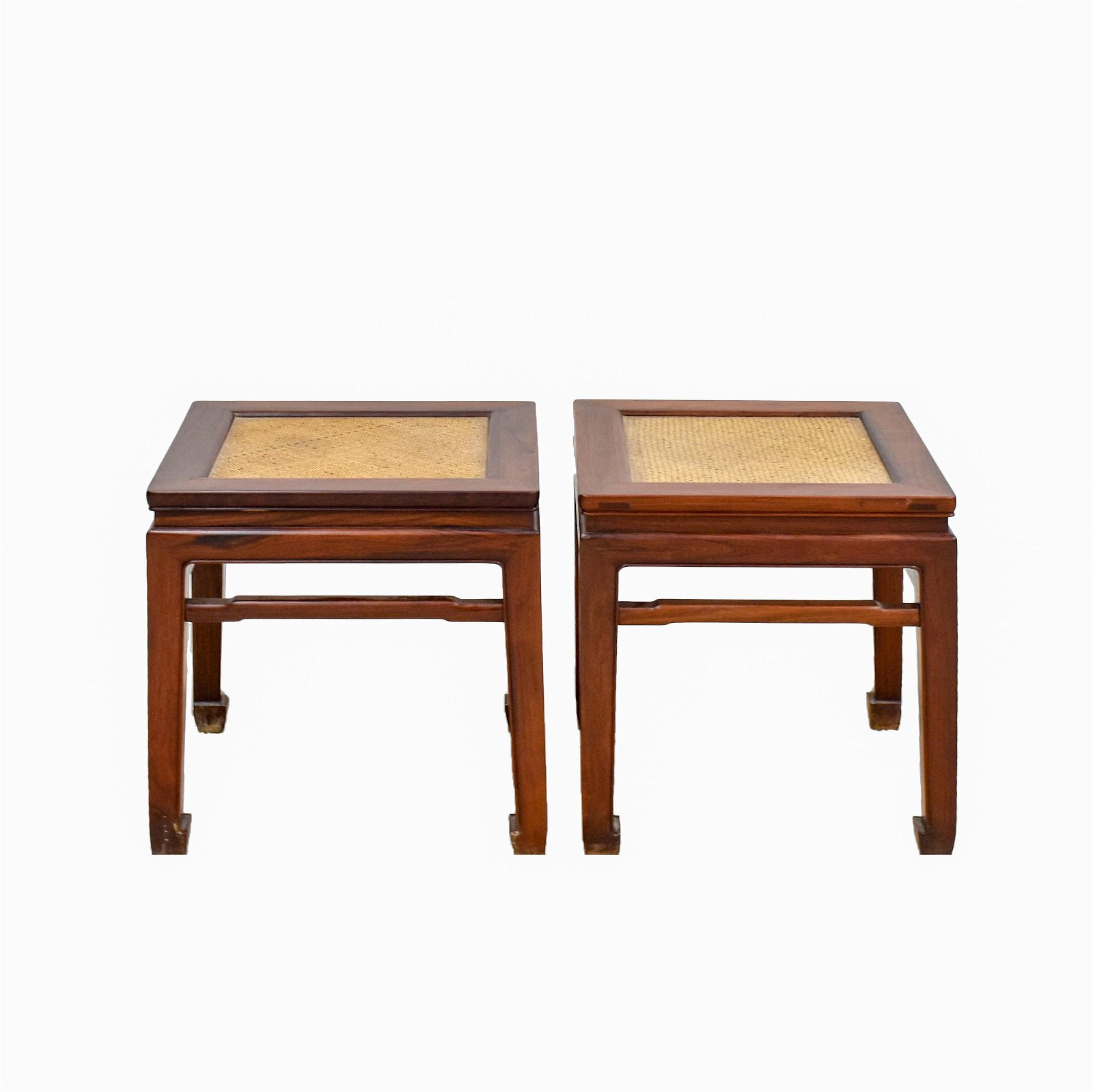 PAIR ANTIQUE CHINESE HUANGHUALI SQUARE STOOLS