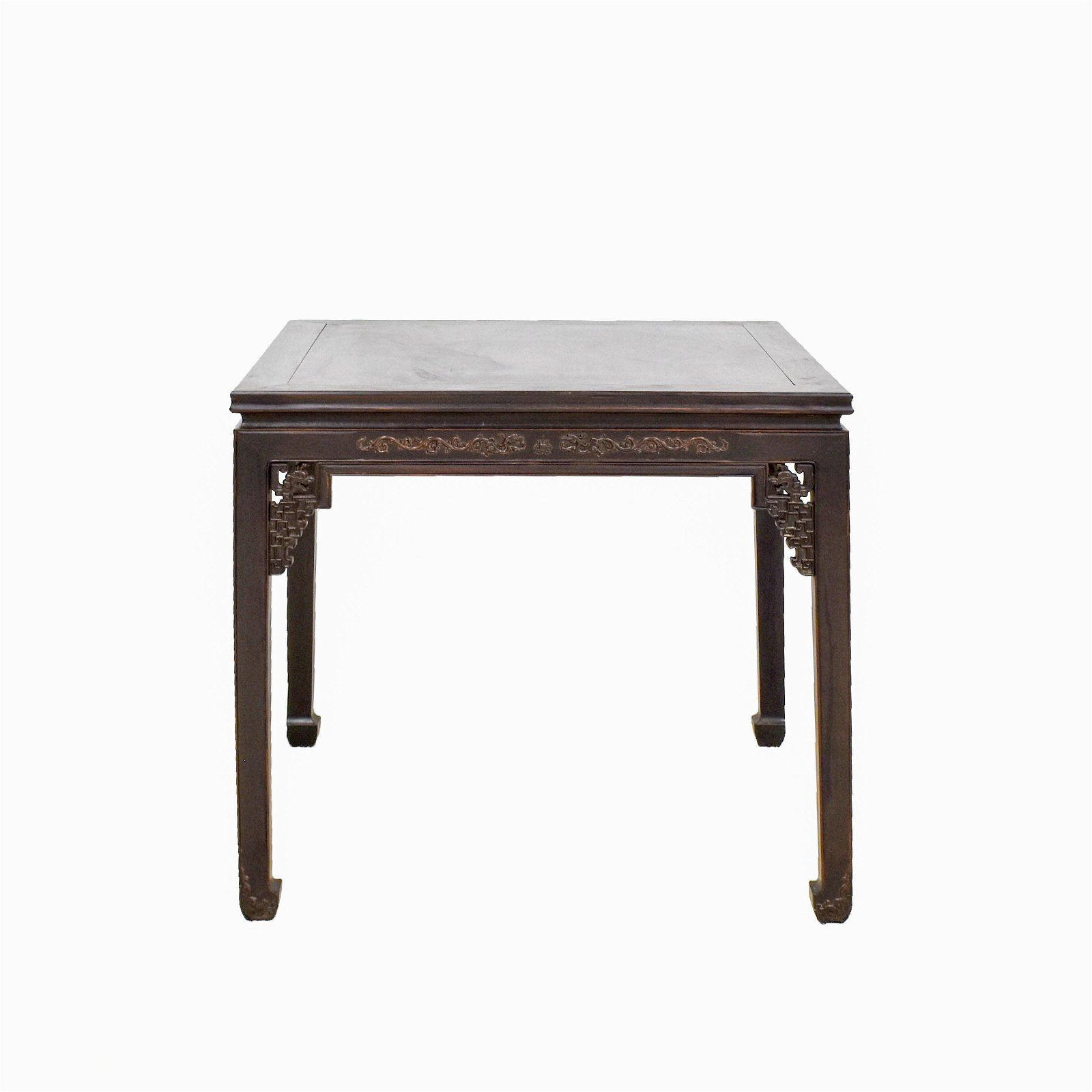19TH C CARVED ZITAN WAISTED SQUARE TABLE