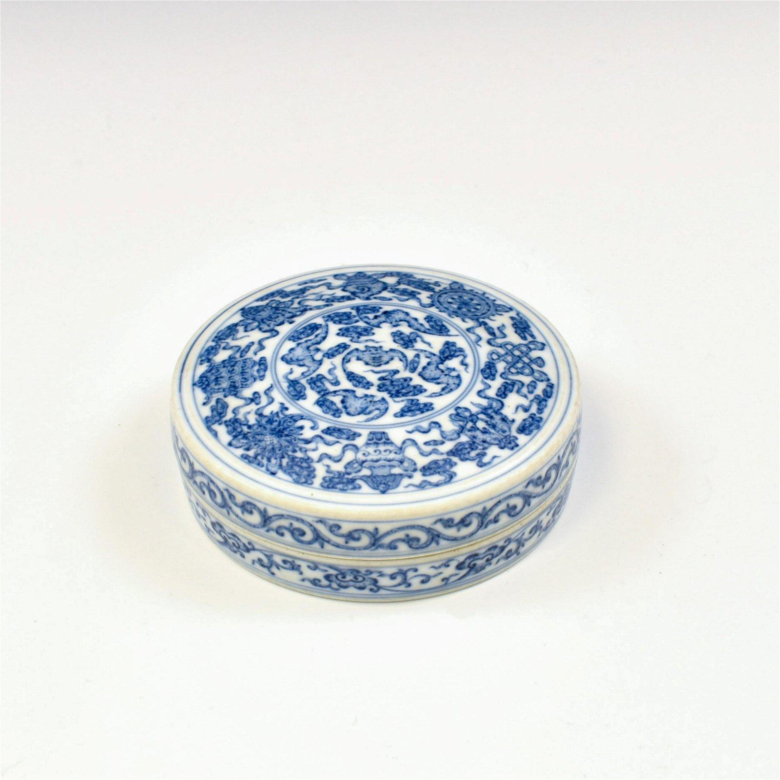 YONGZHENG BLUE & WHITE WRAPPED FLORAL INK BOX