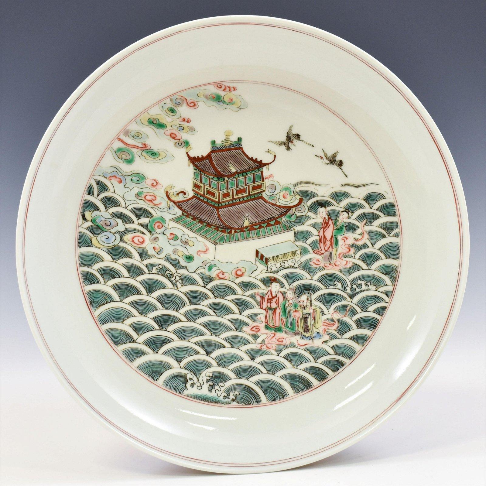 China antique Porcelain QianLong colour enamels Eight Immortals cross sea Vases