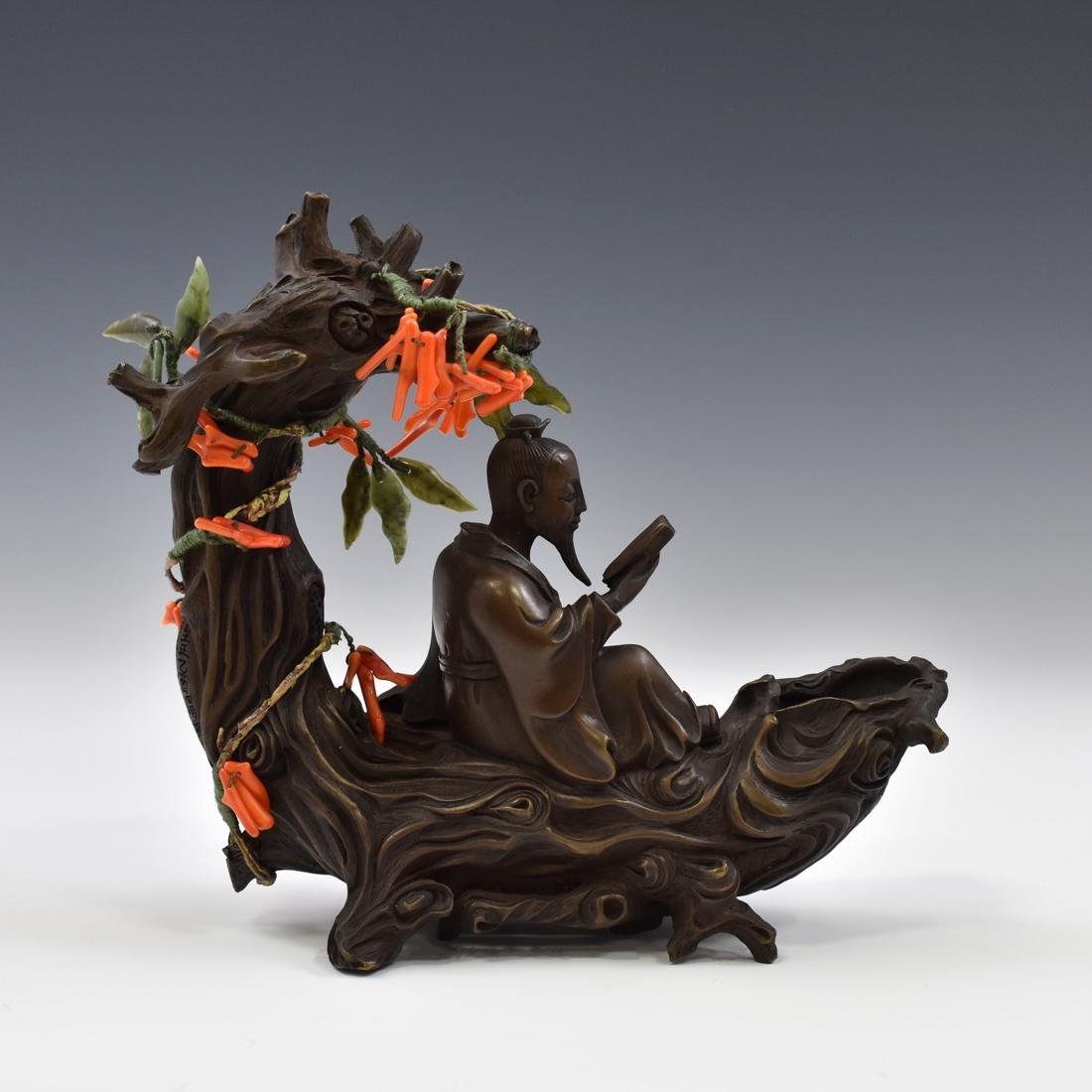 BRONZE & RED CORAL SCHOLLAR BENEATH TREE FIGURE