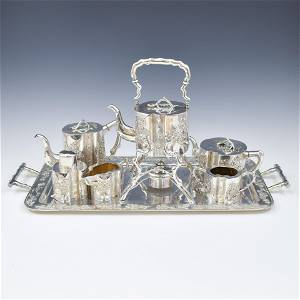 SET OF 7 19/20TH C CHINESE EXPORT SILVER TEASET SINGFAT