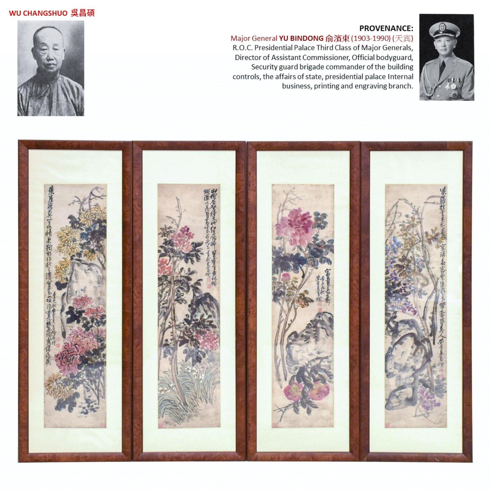 1921 WU CHANGSHUO 吴昌硕 SET 4 FRAMED
