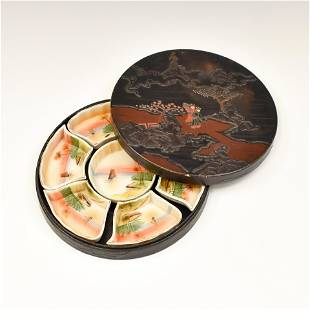 JAPANESE PORCELAIN DISHES IN LACQUERED BOX