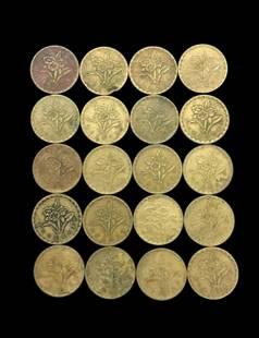 20 TAIWAN BRONZE REPUBLIC 56 COINS